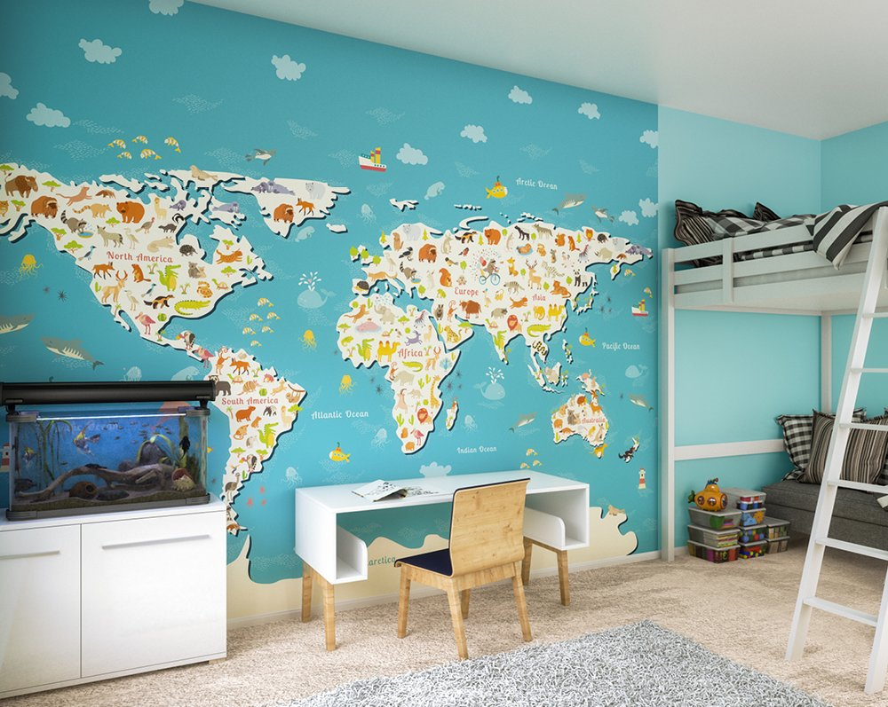 Animals Of The World Map Wall Mural Wallpaper Ohpopsi