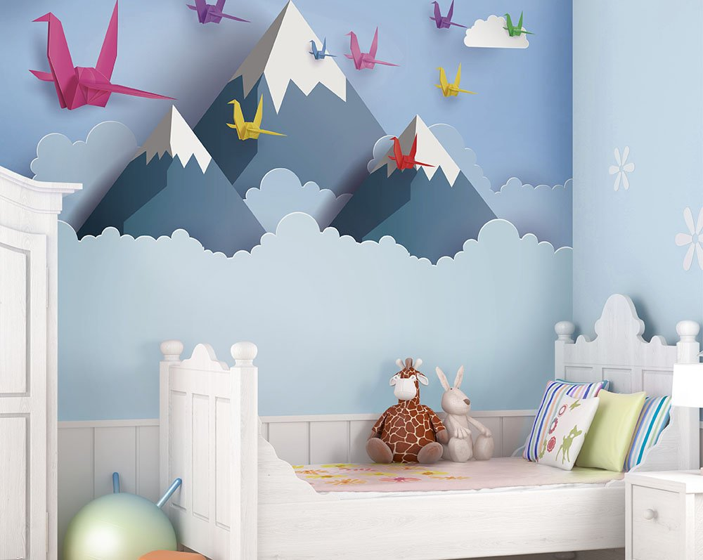 Origami Mountains Wall Mural Wallpaper Mural Ohpopsi