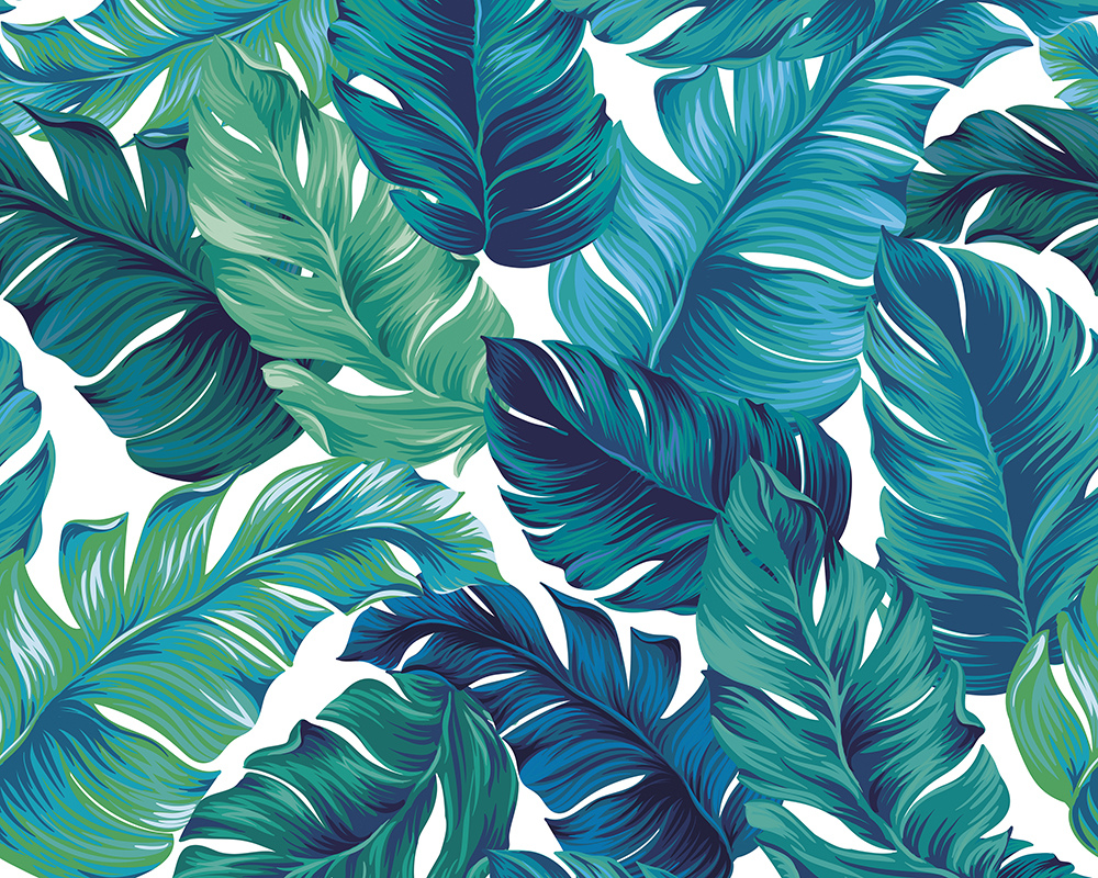 Turquoise Green Tropical Leaves Wall Mural Wallpaper Mural Ohpopsi