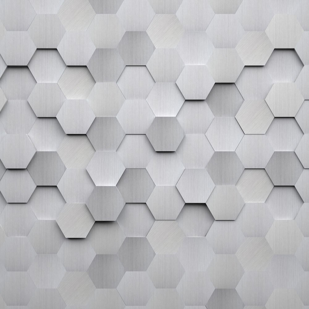 Metal Hexagons Wall Mural