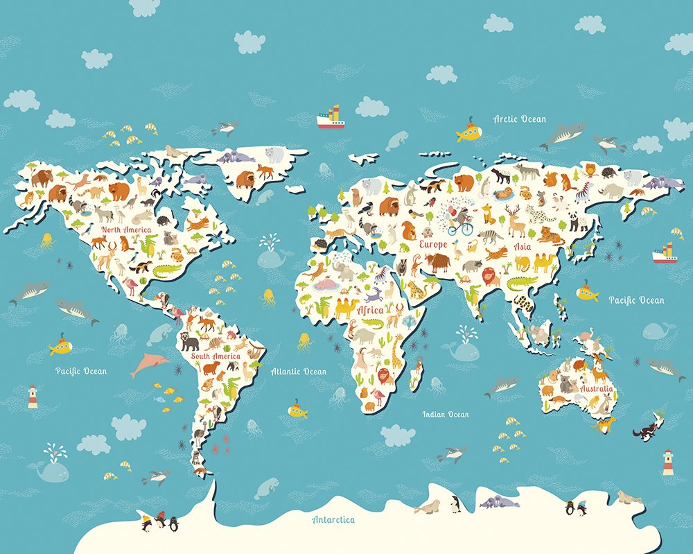 Animals Of The World Map Made To Measure Wall Mural