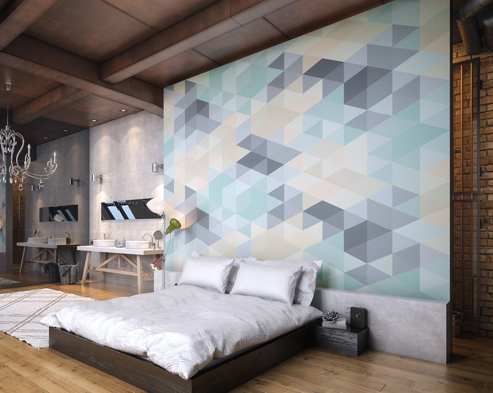 Pastel Triangles Wall Mural Wallpaper Ohpopsi