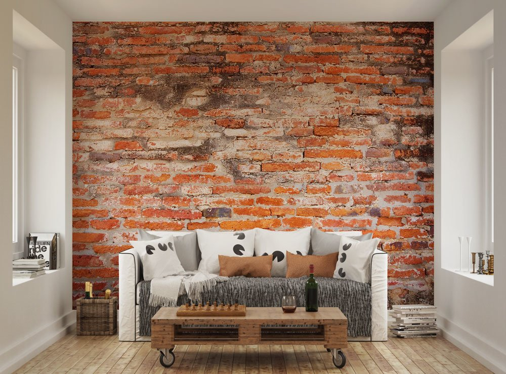 Red brick wallpaper mural ohpopsi for Brick wall mural