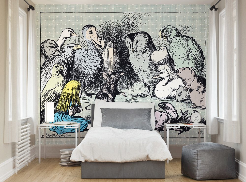 Animal meeting wallpaper mural ohpopsi for Alice in wonderland wallpaper mural