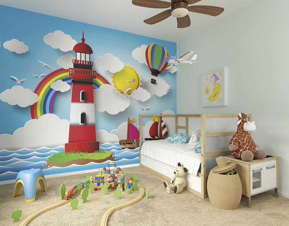 Rainbow lighthouse wallpaper mural ohpopsi for Rainbow kids room