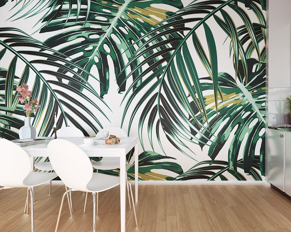 tropical leaves wall mural wallpaper mural ohpopsitropical leaves wall mural
