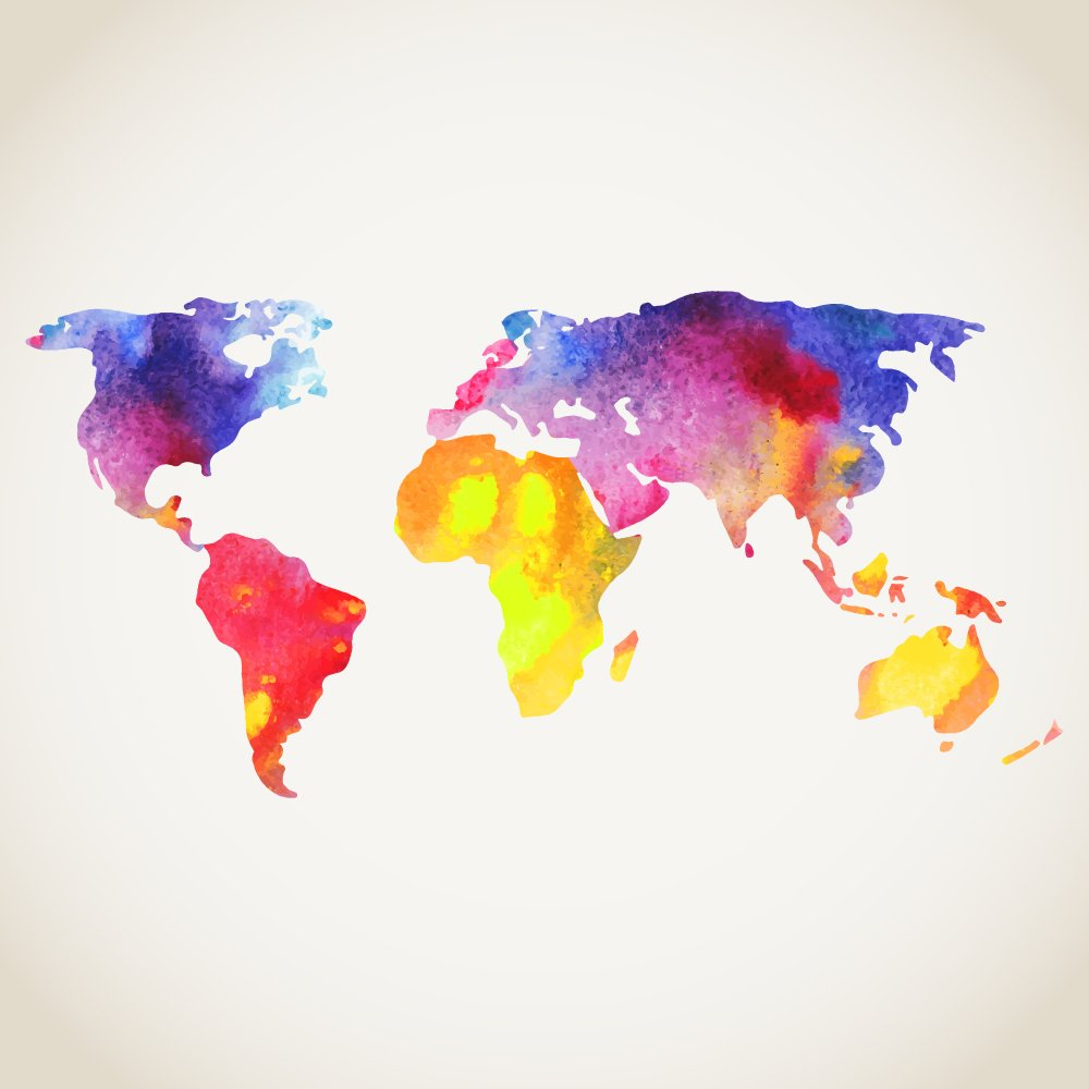 World Map Watercolour Wall Mural
