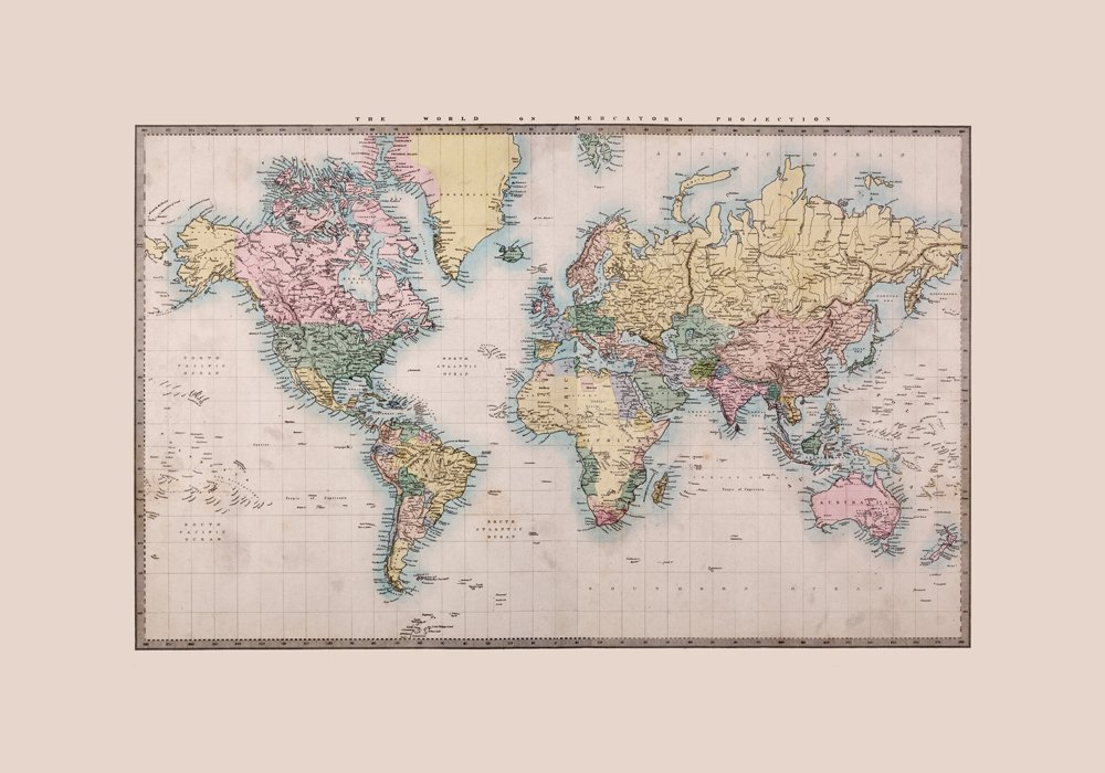 Photo wallpaper wall murals coloured world map ohpopsi historic world wall mural gumiabroncs Gallery