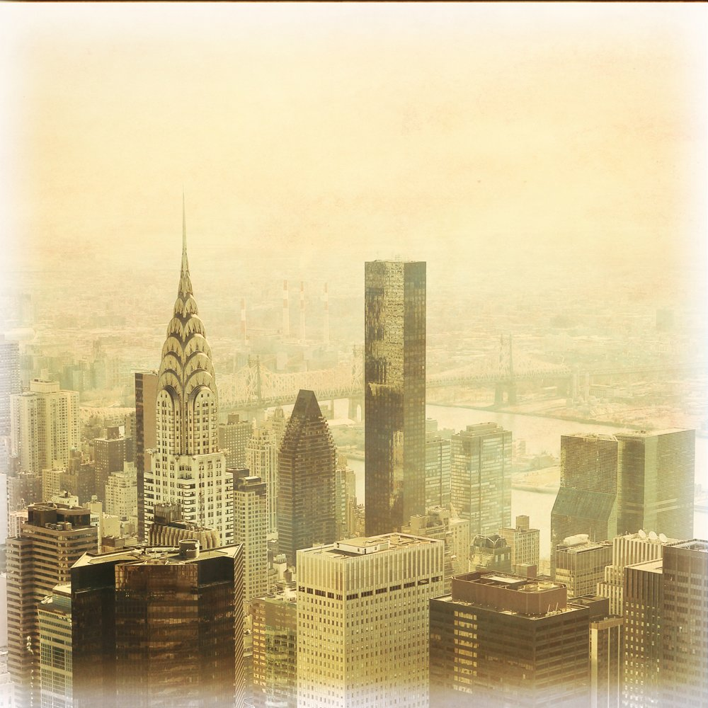 New York City Manhattan Grunge Skyline Wall Mural