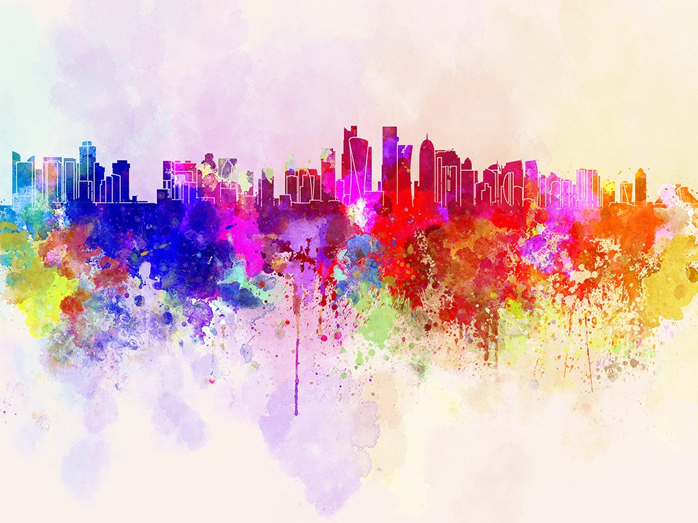 Elegant Doha Skyline In Watercolour Cityscape Wall Mural