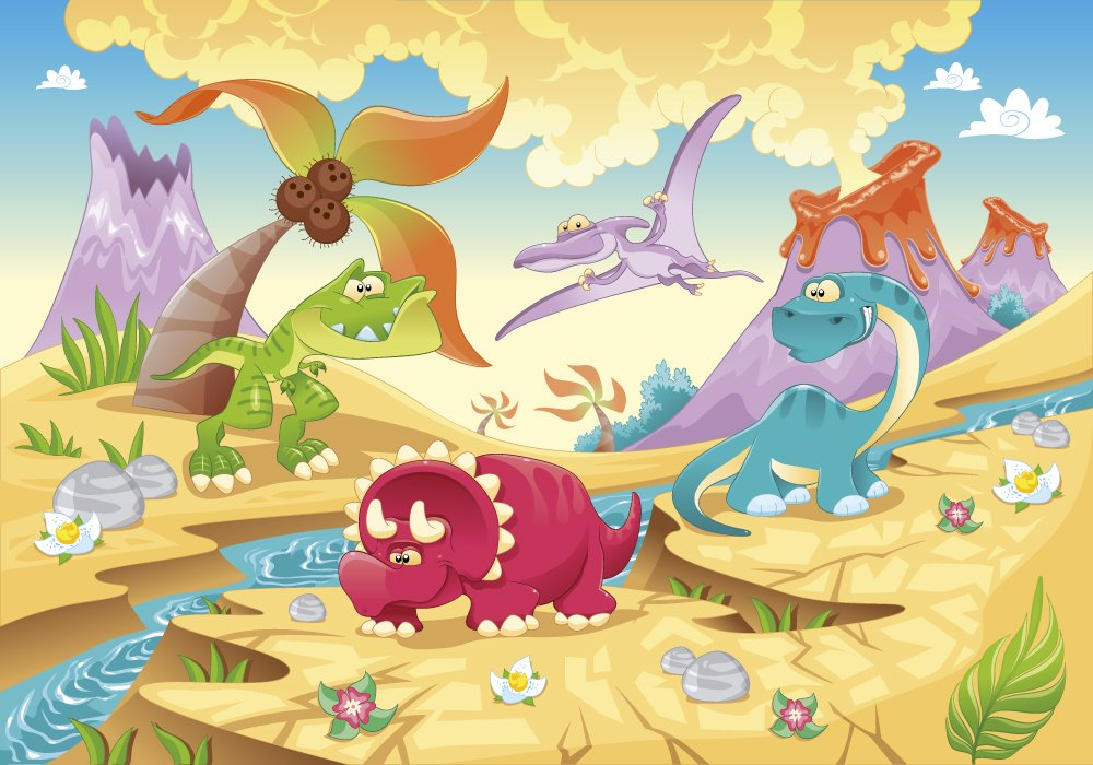 Dinosaur family with volcano background cartoon wall mural