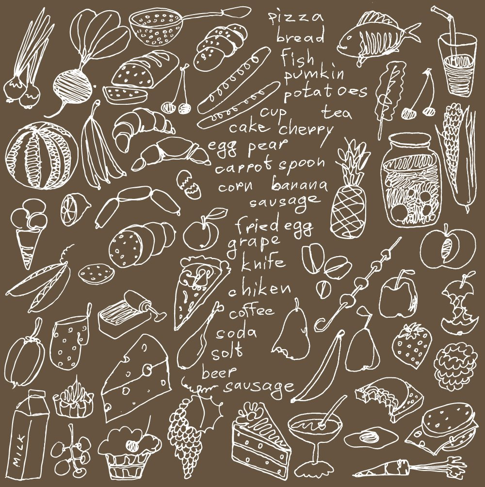 Big vector set kitchen food wall mural ohpopsi for Mural vector