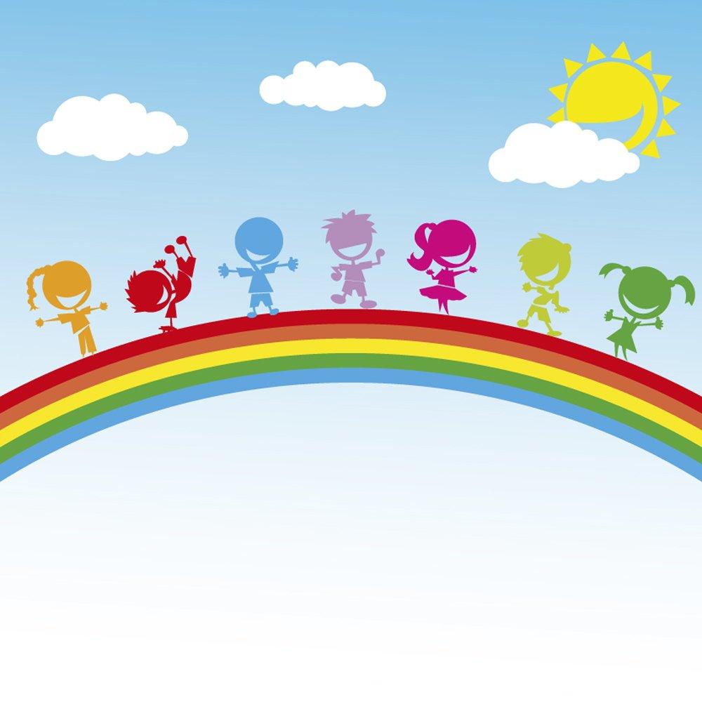 Kids photo wallpaper children on rainbow ohpopsi for Rainbow wallpaper for kids room