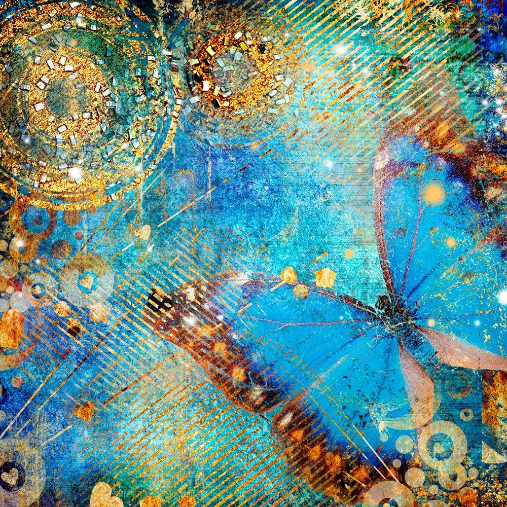 Photo wallpaper wall murals blue butterfly ohpopsi for Butterfly mural wallpaper