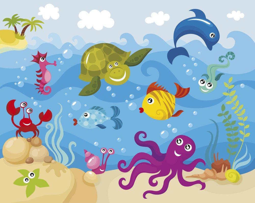 kids photo wallpaper sea creatures wall mural ohpopsi