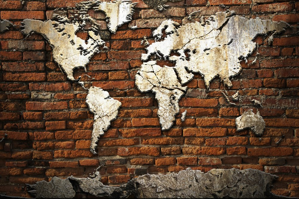 Grunge Concrete World Map On Old Brick, Wall Mural