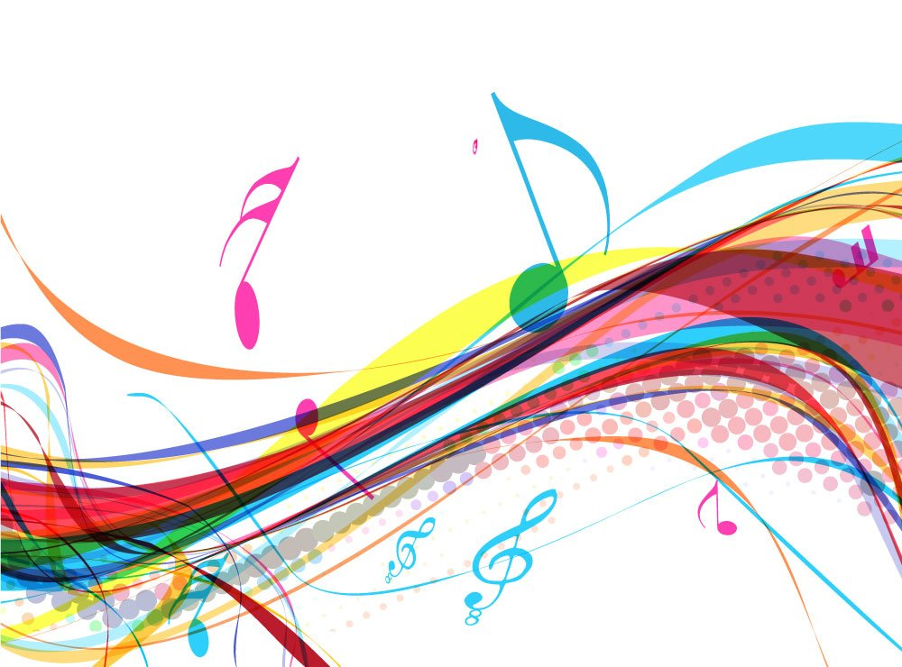 Colourful Musical Notes With Treble Clef Wall Mural