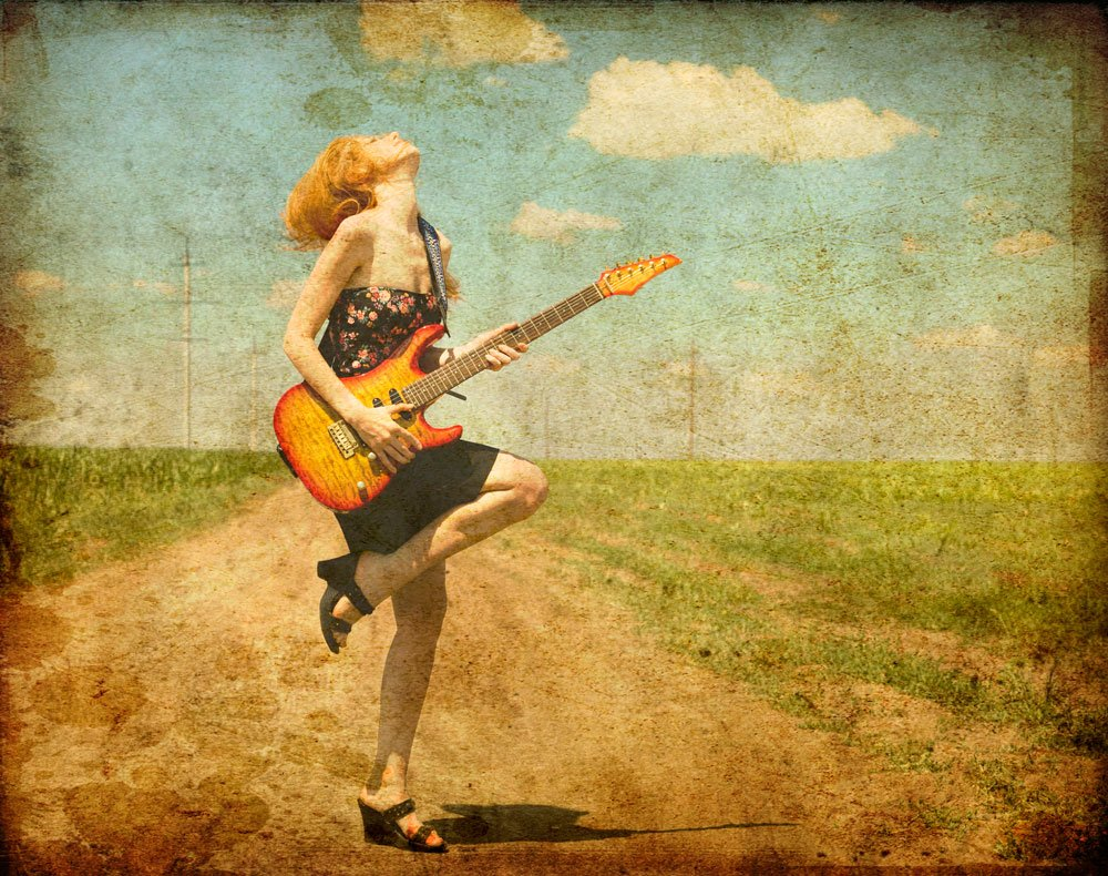 wall murals girl with guitar photo wallpaper ohpopsi rock girl with guitar retro photograph music wall mural