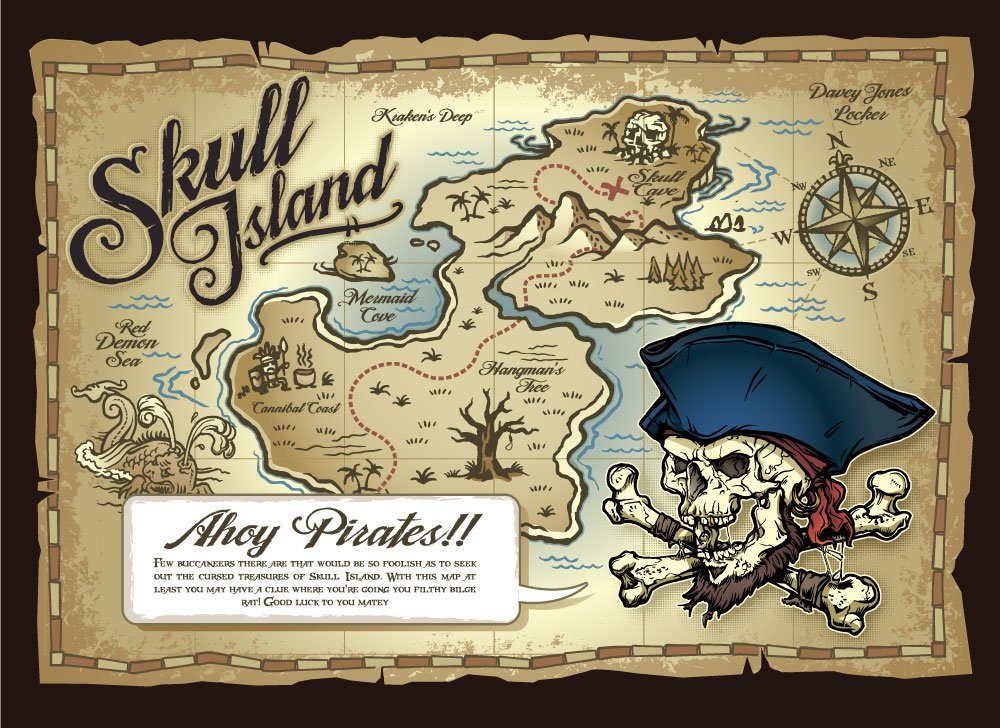 Skull Island Pirateu0027s Treasure Map Childrenu0027s Wall Mural