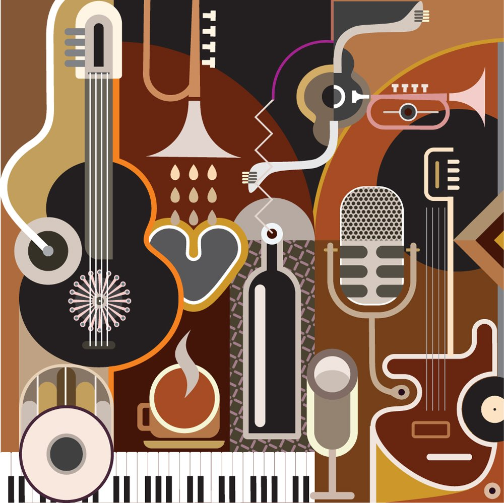 Photo Wallpaper Funky Colourful Music Wall Mural ohpopsi